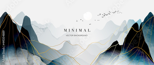 Stampa su Tela mountain and golden line arts background vector