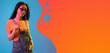 Leinwandbild Motiv Contemporary art collage, modern design. Retro style. Woman on colored studio background in magazine style. Blue and orange