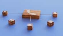 Communication Technology Concept With Phone Symbol On A Wooden Block. User Network Connections Are Represented With White String. Blue Background. 3D Render.