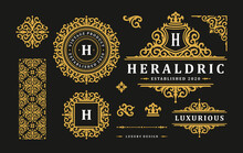 Luxury Logo Vintage Ornament Monograms And Crest Templates Design Vector Illustration Set