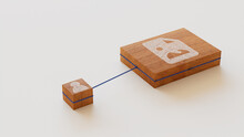 Image Technology Concept With Picture Symbol On A Wooden Block. User Network Connections Are Represented With Blue String. White Background. 3D Render.