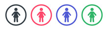 Girl, Woman Or Female Icon Sign Symbol. Vector Illustration