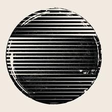Logo With Grunge Textured Circle  .Minimal Design .Black Vector Stripes .Geometric Shape.