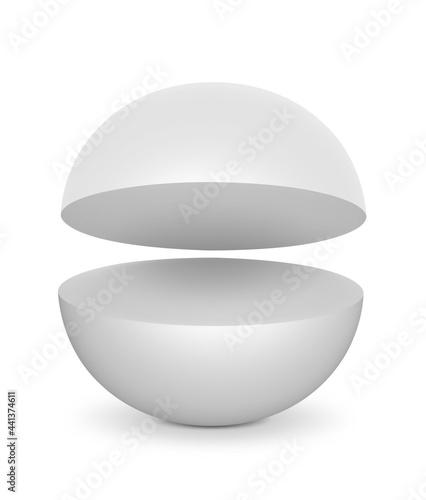 Billede på lærred White Semi Sphere Mockup. 3D render