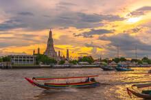 Sunset Over The River At  Wat Arun Bangkok Thailand.