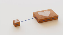 Love Technology Concept With Heart Symbol On A Wooden Block. User Network Connections Are Represented With Blue String. White Background. 3D Render.