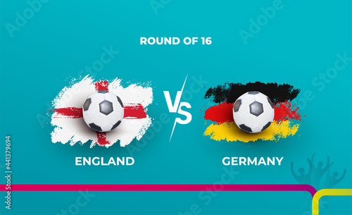 Photographie Round of 16 of the euro football championship England national team and Germany national team