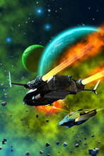 Space Battle, Spaceships Fighting Around A Planetary System, 3d Illustration