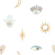 Hand Drawn Watercolor Evil Eye. Nazar