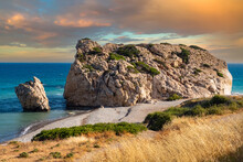 Cyprus Beaches. Petra Tou Romiou Resort. Rock Of Aphrodite In Cyprus. Gulf Of Aphrodite In Mediterranean. Sea Cliffs Near Paphos City. Sea Cliffs On Beach Of Cyprus. Travel To The Beaches Of Paphos