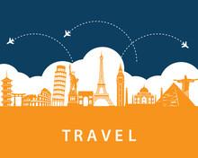 Travel Concept With Landmarks On Background. Tourism Business  Element. Road Trip. Journey Vacation Concept. Vector Illustration Modern Flat Design.