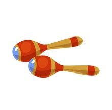 Maracas Cartoon Icon Isolated On White Background. Colorful Musical Instrument Flat Style Vector Illustration.