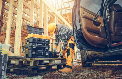 Fotografia Construction Contractor Preparing His Tools