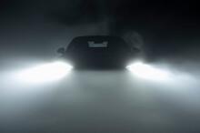 Modern LED Car Headlights In Dense Fog