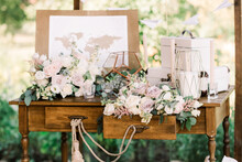 Decoration Of A Wedding With Paper Details And Gentle Fresh Flowers