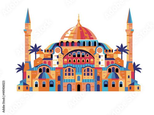 Istanbul Hagia Sophia Geometric Building in Flat Fototapet