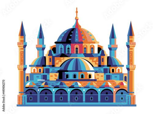 Fotografie, Obraz Istanbul Sultanahmet Blue Mosque Building in Flat