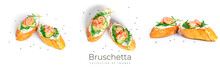 Bruschetta With Cream Cheese, Shrimps Cucumber And Arugula Leaves Isolated On A White Background. Toast Isolated. Sandwich Isolated. Sandwich With Shrimps, Salmon And Cheese.