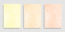 Set Of Watercolor Peach Beige Yellow Background For Paper Design. Soft Pastel Wallpaper. Illustration As Template For Layout Composition