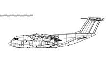 Kawasaki C-1. Vector Drawing Of Military Transport Aircraft. Side View. Image For Illustration And Infographics.