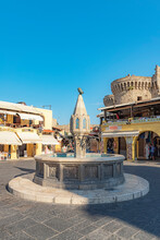 Rhodes Hippocrates Old Town Square Fountain