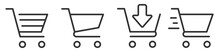 Shopping Cart Icon Set. Full And Empty Shopping Cart Symbol Shop And Sale Icon. Vector Diferends Black Shopping Cart Icons Set. Vector Illustration In Flat Stile
