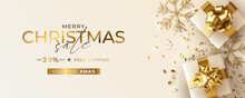 Christmas Sale Banner With Realistic Presents Design Vector Illustration