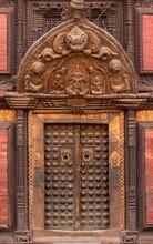 Intricate Frond Door Decoration In Patan, Durbar Square, Kathmandu, Nepal.
