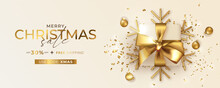 Merry Christmas Sale Banner With Coupon Code Realistic Golden Gift