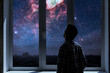 person standing next to the window and watching outside, admire the star on night sky, elements of this image furnished by nasa