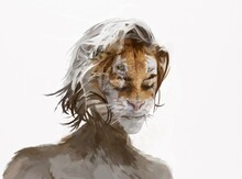 Painted Illustration Of Woman With Face Of Lion