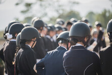 Company Of Unrecognizable Equestrians In Uniform