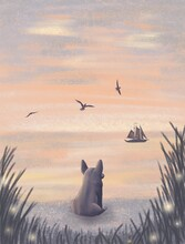 Corgi Dog Sitting In Sea Cost Looking At Ship And Birds In Pink Sunset Illustration