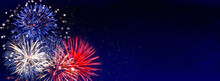 Fireworks Banner, Colorful Sylvester-fireworks On Blue Background With Sparks And Space For Text.  Independence Day USA