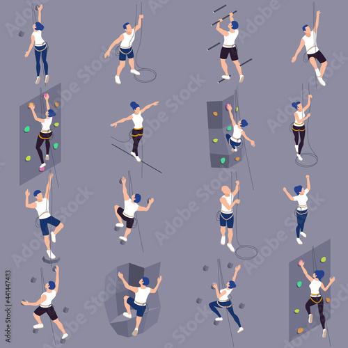 Sport Climbers Isometric Set Fotobehang