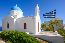 Whitewashed Greek Orthodox Church In Piso Livadi, Paros Island, Cyclades, Greece