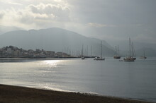 Marmaris, Turkey.. Seascape Of Aegean Bay Sea With Yachts Before The Rain.