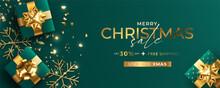 Green Golden Realistic Christmas Sale Banner Template Design Vector Illustration