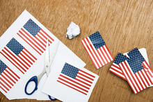 Preparation USA Flag Cards For 4th Of July, Memorial Day, Veteran's Day, Or Other Patriotic Celebration