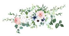 Blush Pink Garden Roses, Anemone, Ranunculus, Hydrangea Flowers Vector Design Bouquet