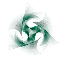 Several Green Propellers Rotate To Create An Original Pattern On A White Background. Abstract Fractal Background. 3d Rendering. 3d Illustration.