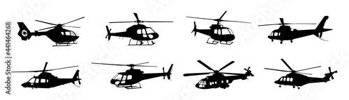 Slika na platnu helicopter silhouette vector collection