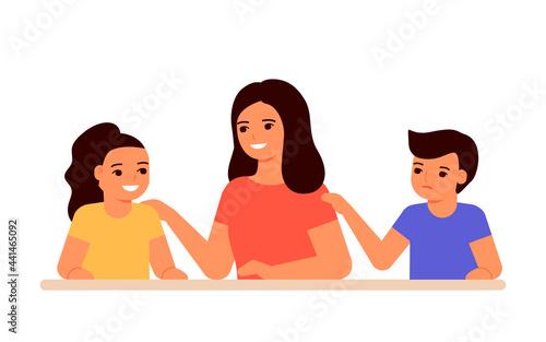 Fototapeta Jealous relationship siblings in family, conflict children and envy for mother