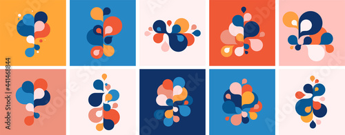 Canvas Set of abstract modern graphic elements and forms