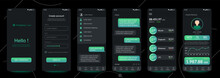 Design Of Mobile App Cryptocurrency Wallet, Chat Room, UI, UX, GUI. Set Of User Registration Screens With Login And Password Input, Account Sign In, Sign Up, Home Page. Template Application. UI Design