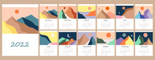 Calendar Template For 2022. Vertical Design With Abstract Natural Boho Landscapes. Editable Illustration Page Template A4, A3, Set Of 12 Months With Cover. Vector Mesh. Week Starts On Sunday.