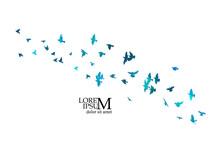 A Flock Of Blue Birds. Vector Illustration