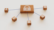 Security Technology Concept With Lock Symbol On A Wooden Block. User Network Connections Are Represented With Blue String. White Background. 3D Render.