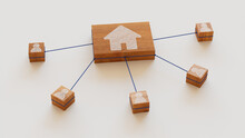 Internet Technology Concept With Home Symbol On A Wooden Block. User Network Connections Are Represented With Blue String. White Background. 3D Render.