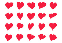 Heart Hand Drawn Icons Set Isolated On White Background.